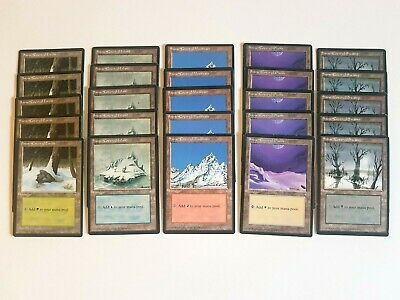 Magic the Gathering Lot of 5 Snow-Covered Swamp Ice Age Edition