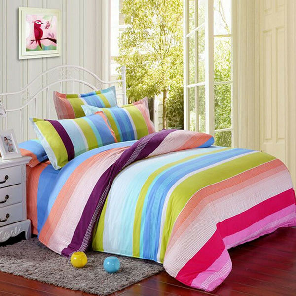 Polyester colorful Stripes Single Queen King Reactive Bedding Set Bed Sheet