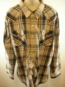 Mens-sz-4XL-High-Noon-Western-Pearl-Snap-Shirt-Long-Sleeve-Tan-Black-Brown-Plaid