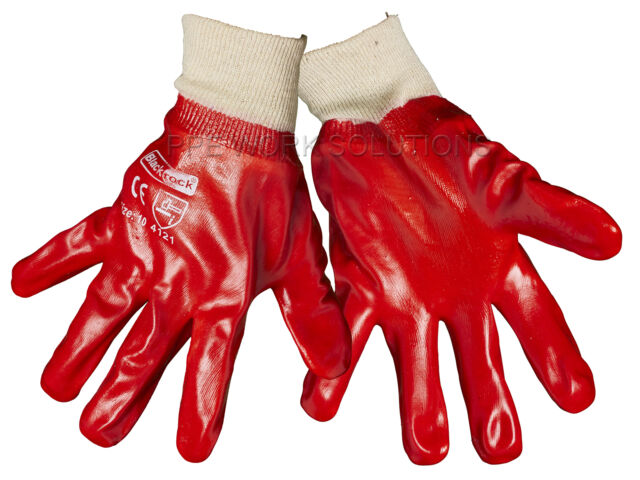 1 x Pair Of Blackrock PVC Red Work Safety Gloves Fully Coated (8401000)