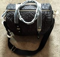 NEW DKNY DONNA KARAN BLACK QUILTED NYLON LOGO BAG ~ LARGE