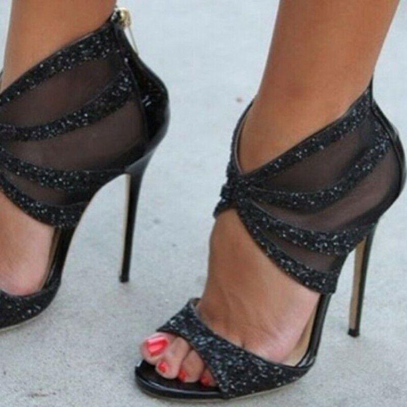 Sexy Sommer Mesh High Heels Sandalen Damen Reißverschluss Peeptoe Abendpumps