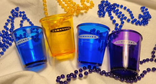 Set of 4 Dekuyper...Shot Glass on a String of Beads..Choice of Color....NEW