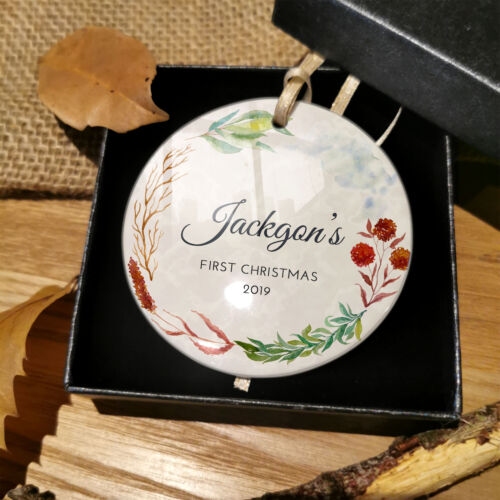 Personalised Baby First Christmas Bauble Xmas Decoration Plaque Gifts Boy Girl