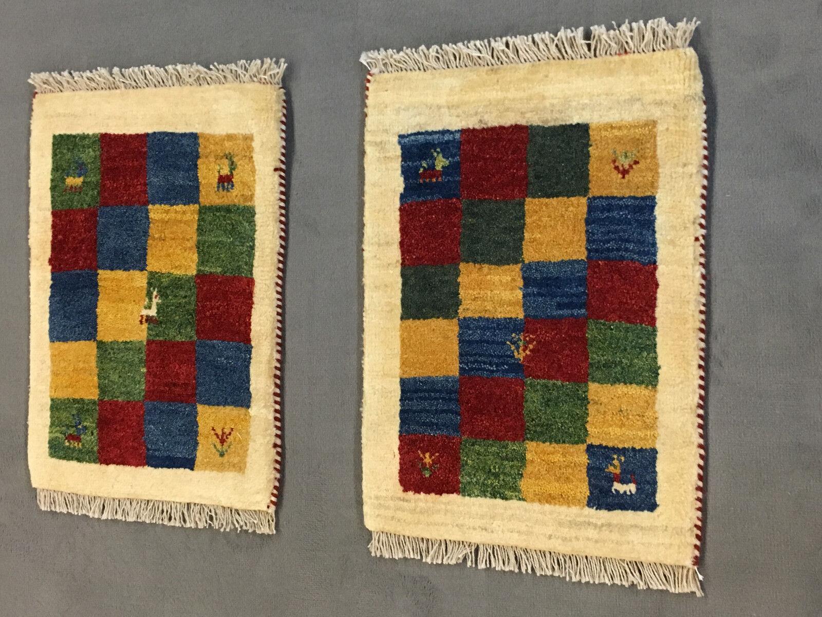 2 x Véritable yalamehbaff Tapis d'Orient persan persan persan TOP (57x40cm) Neuf! | Service Supremacy  635026