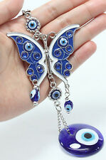 """Blue Evil Eye 2.5"""" Butterfly Amulet Protection Wall Hanging Home Decor Gift"""