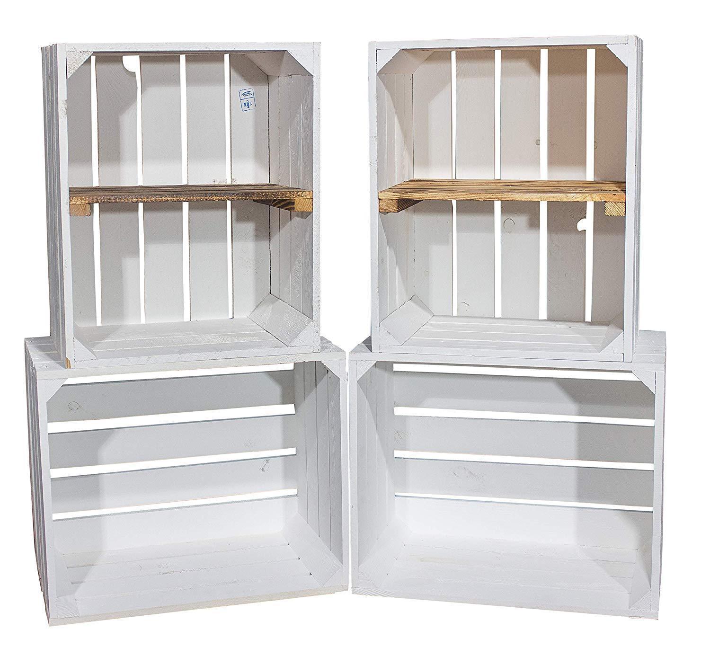 DIY Set (4 Kisten) Gemischtes Paket Weiße Holzkisten-Weinkisten Regal aus weißem
