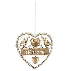 clayre-amp-eef-Placa-Colgante-Welcome-Corazon-Angel-Navidad-brocante-Antiguo-Oro
