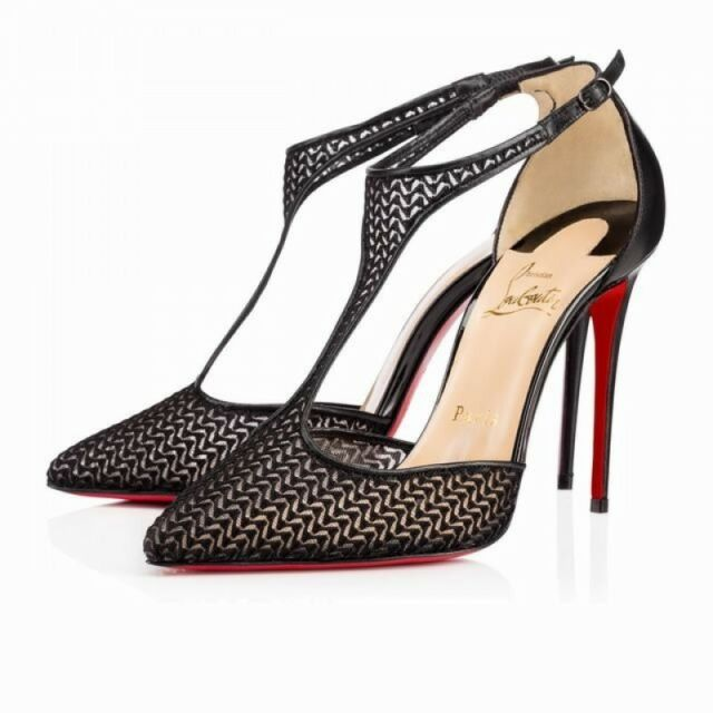 cbd59152d437 100% AUTHENTIC NEW WOMEN LOUBOUTIN SALONU 100 MAILLE CHEVRON HEELS PUMPS US  8.5