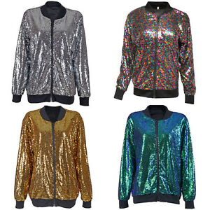 Details zu SEQUIN BOMBER JACKET FESTIVAL CLUBBING PARTY DISCO 70S JACKET COAT GLITTER SHINY