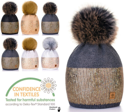 Womens Cable Knitted Bobble Hat Beanie Very Warm Winter Pom Wooly Cap Mon