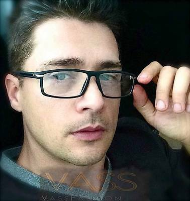 Rectangle Rubber Coated Smooth Touch Black Silver Frame Clear Lenses Eyeglasses