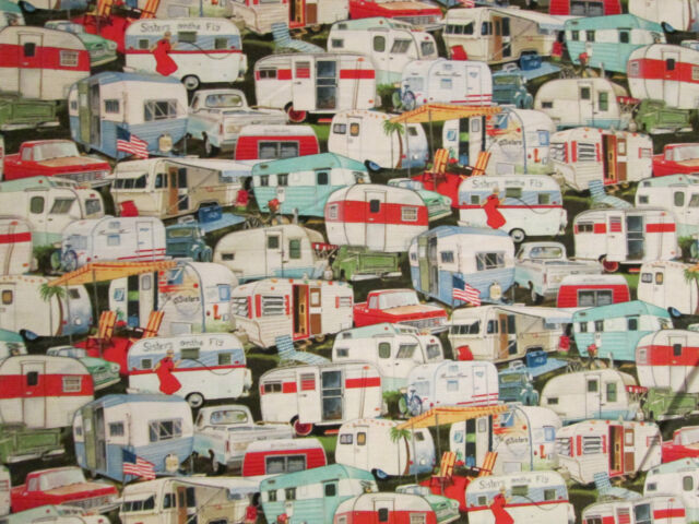 RETRO VINTAGE PACKED TRAILER VINTAGE TRAILERS COTTON FABRIC FQ 12 1/2 Inch