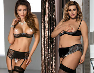621a7448e61 Seductive 1 4 Cup Bra Set Suspenders Belt G-String Satin Soft 8 To ...