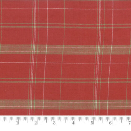 Per 1//4 Metre Moda Fabric Snowfall Wovens Plaid Poinsettia Red