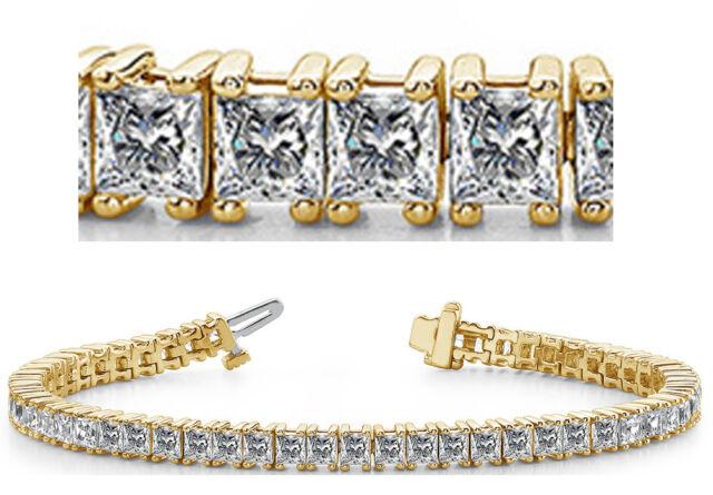 10 Carat Princess Cut Diamond Tennis Bracelet 14k Yellow Gold 56 Diamonds Vs