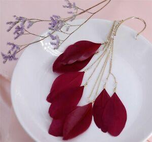 UNE Boucle d/'Oreille NON PERCEE  Plume Rouge Bordeaux Artisanal Hyper Long XX25