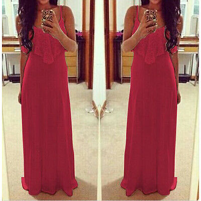 2015 Women's Summer Bandage Sexy Lace Maxi Dress Cocktail Party Long Beach Dress