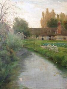 PUJOL-de-GUASTAVINO-1850-1905-Tableau-Paysage-Cours-d-039-eau-Huile-Toile-dedicace