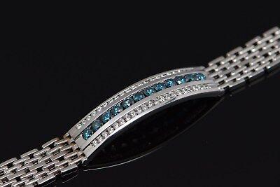 Men S 14k Blue White Diamond Bracelet Gold 5 Carat Tw Italian Made Ebay