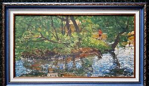 painting-Russian-landscape-impressionism-vintage-river-Shilov-Fishing-decor-art