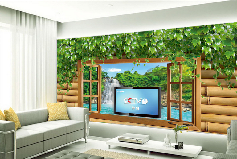 3D Wasserfall Rebe Fenster  74 Tapete Wandgemälde Tapete Tapeten Bild Familie DE | Adoptieren  | Clever und praktisch  | Stabile Qualität