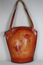 Leather Purse By Sunflower Inc. - Red Flower-Handmade  Zip close  #FC3013  NEW