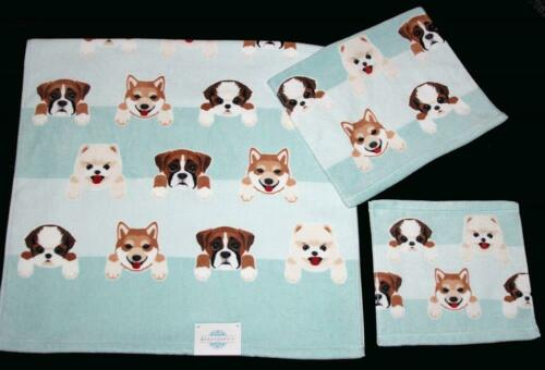 4 Serendipity Varied Dogs Puppies Aqua White Stripes Velour Wash Cloths NWT