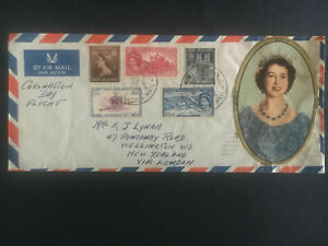1953-New-Zealand-First-Day-Cover-QE-II-Queen-Elizabeth-coronation-Flight-to-UK-3