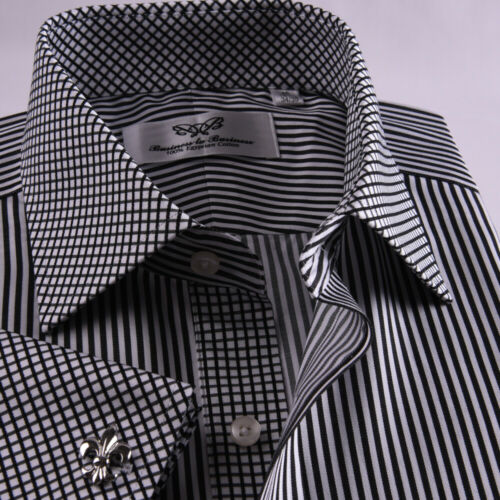 Black Mini Stripe Dress Shirt Formal Contrast French Cuff Business Fashion