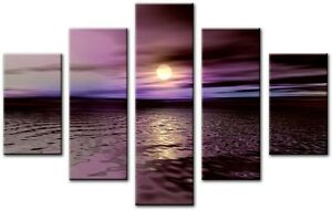 5-Panel-Total-Size-115x80cm-Large-CANVAS-PICTURES-WALL-ART-PRINTS-WEST-Purple