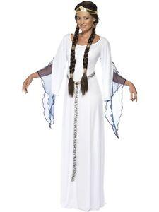 Ladies-White-Medieval-Maid-Costume-Angel-Fancy-Dress