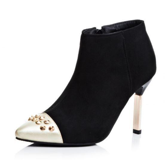 Stiefel winter schuhe stilett simil leder 9 cm schwarz schwarz schwarz elegant 9369 ee4ea1