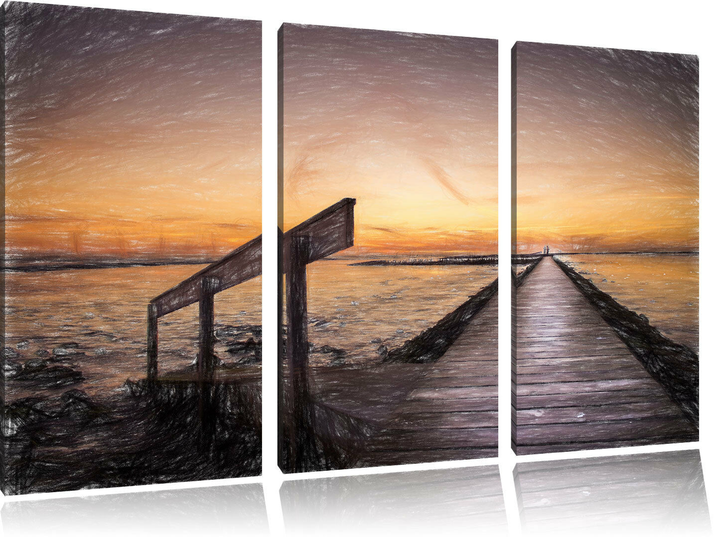 Langer STEG nel tramonto sul mare mare mare del Nord 3-Divisorio Tela Decorazione Kun bce7ad