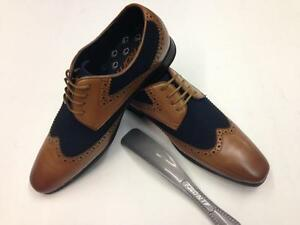 MENS-DUALTONE-LEATHER-BROGUE-SHOES-JAZZ-SPAT-OFFICE-PARTY-FORMAL-BROGUE-GATSBY