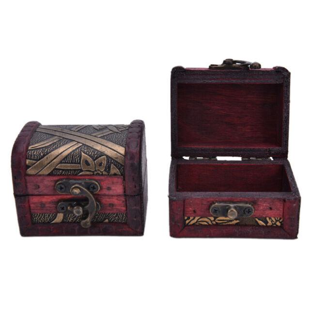 Vintage Wooden Treasure Chest Jewelry Box Necklace Book Storage Holder Box AU NT