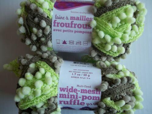 Needle Crafters Wide Mesh Mini Pom Ruffle yarn lot of 2 1.75 oz ea Sage