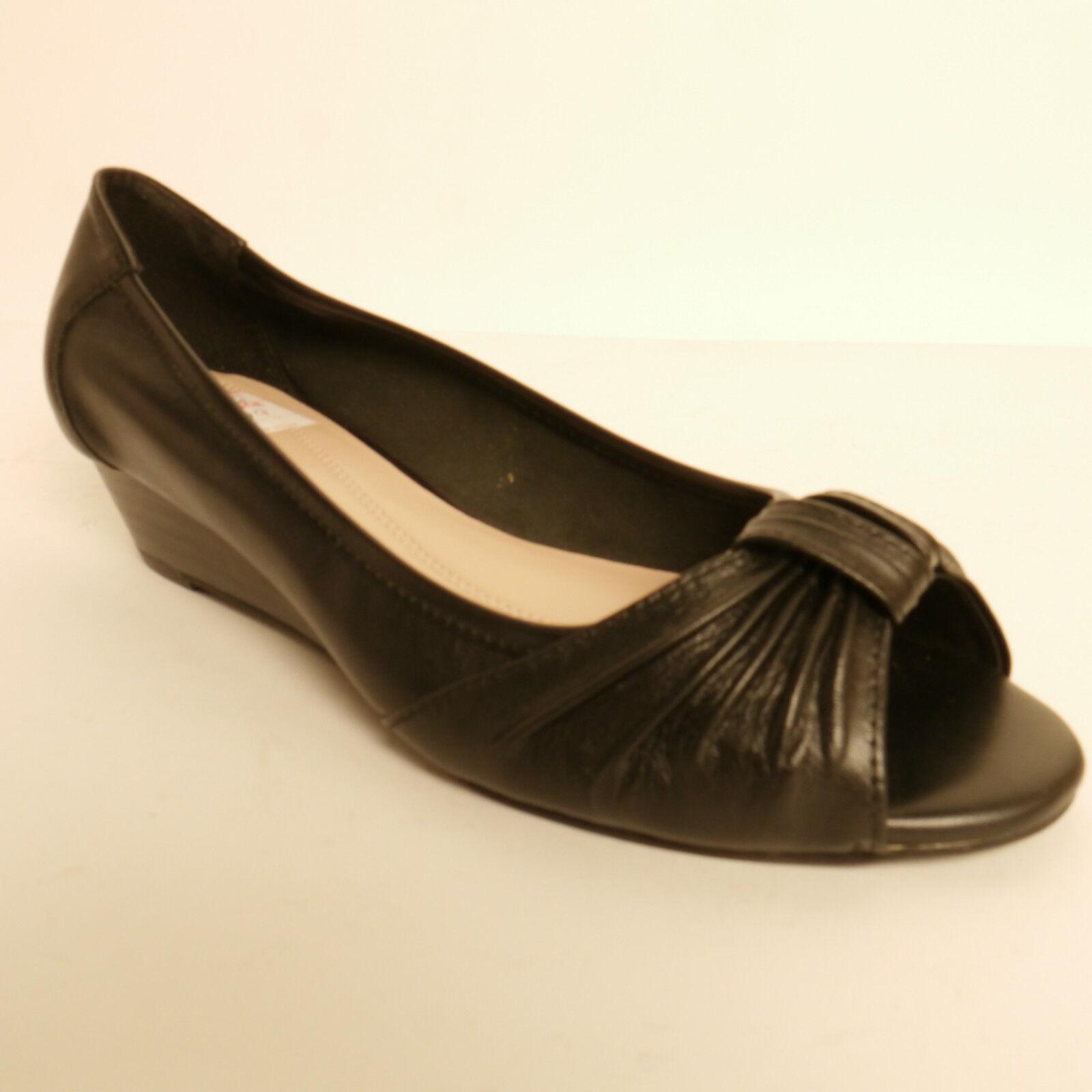 Ladies Lotus Joy Peep Toe shoes Wedge Heel Black Leather   Bargain
