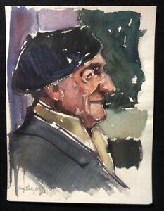 Rolf-bohlig-Portrait-guazzo-1962-a-mano-firmata-e-datata