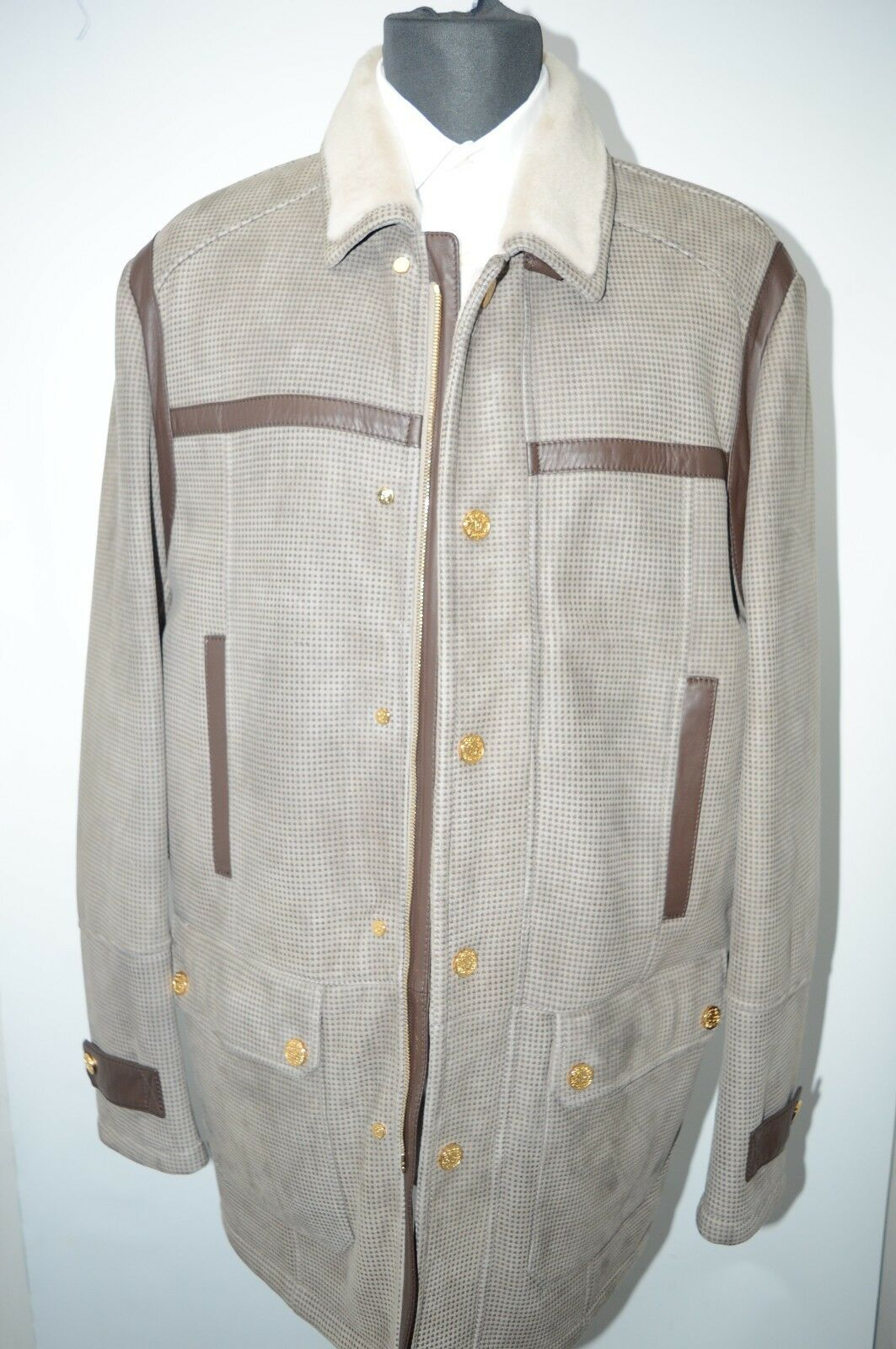 NEW 10500,00  STEFANO RICCI  Outwear Top Over Coat Leder  Us M Eu 50 (G48)