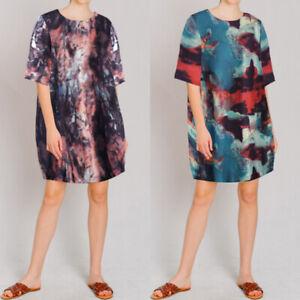 UK-8-26-Women-Summer-Boho-Floral-Print-Baggy-Mini-Short-Sleeve-Beach-Party-Dress