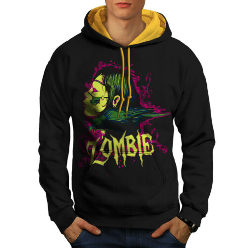 Zombie Skull Contrast Hoodie Hood gold New Death Crow Men Black xwET6q1