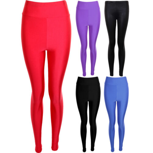 Ladies American Style Disco High Waisted Shiny PVC Women/'s Leggings Trousers 8-1