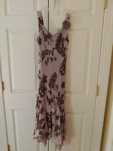 Women Jonathan Martin Studio Silk Handkerchief Boho Brown Floral Dress Size 6