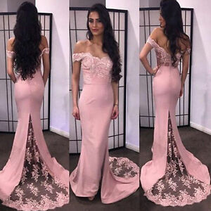 2018-Pink-Lace-Mermaid-Prom-Dresses-Evening-Long-Party-Formal-Pageant-Ball-Gowns