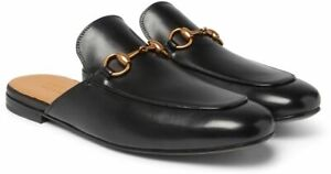 487ad02d42b Gucci Men Kings Horsebit Black Leather Slip On Slide Backless Loafer ...