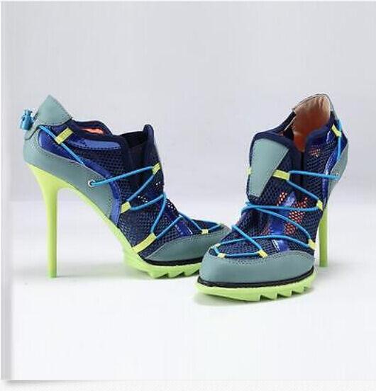Para mujeres Tenis Deportivas Deportivas Deportivas Bombas Calado Con Cordones Tacón Alto Zapatos De Malla Transpirable  barato y de moda