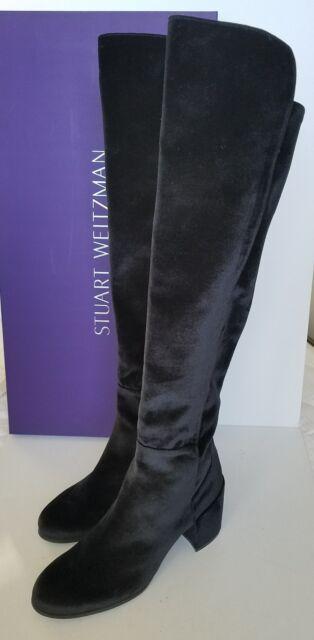 50fbb4945340  675 NIB STUART WEITZMAN Black Velvet LOWJACK Block Heel OTK Boots 11.5    41.5