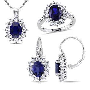 Sterling Silver Blue & White Sapphire 1/10 Ct TDW Diamond Jewelry Set G-H I2-I3