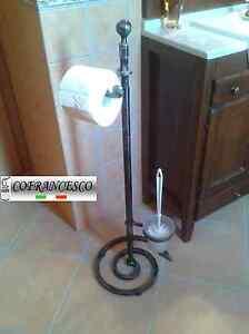 Piantana bagno porta rotolo porta scopino in ferro battuto art 1193 ebay - Porta scopino bagno ...
